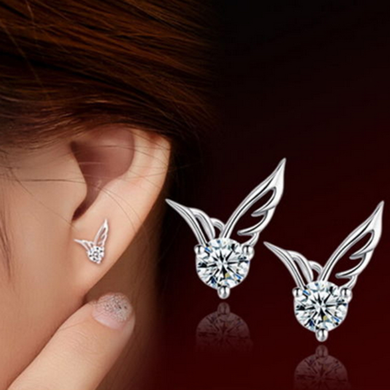 New Ladies Korean Fashion Silver Jewelry Angel Wings Crystal Ear Stud Earrings Exquisite women fashion EarringsFree Shipping(China (Mainland))