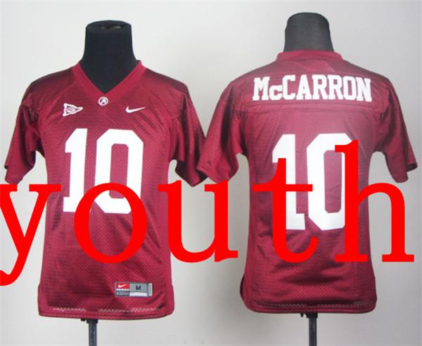 New Arrival Nike Youth Nike Alabama Crimson Tide AJ McCarron 10 Crimson College T-shirt Jersey(China (Mainland))