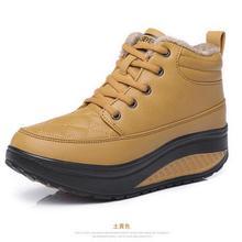 Brand New 2016 Mujeres de Invierno Zapatos de Tacón de Cuña Elevados en forma de bota zapatos de Moda Casual Zapatos de Plataforma de Oscilación Caliente Tobillo de La Manera Botas para la nieve(China (Mainland))