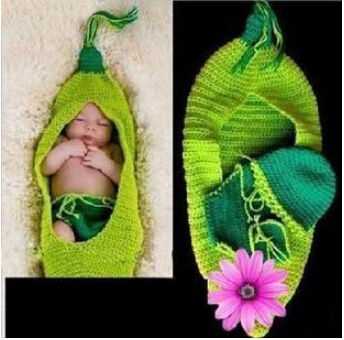 Crochet Baby Hat Cocoon Newborn Baby Pea Pod Photography Props Infant Kids Crochet Costume Clothes,crochet baby set pattern(China (Mainland))