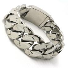 Huge & Heavy Mens Boys 316L Stainless Steel Cool Polishing Crack Silver Bracelet New Design