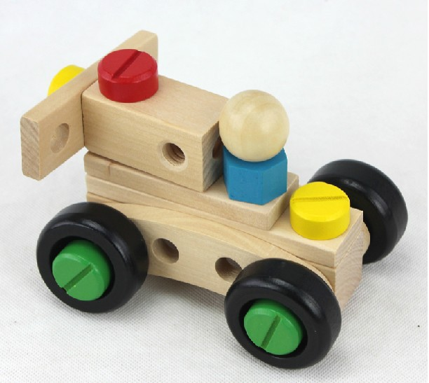 Wooden Toys Building Blocks Nuts Acrew Car Assembled Removable Baby Toy Hot Toys Kids Games(China (Mainland))