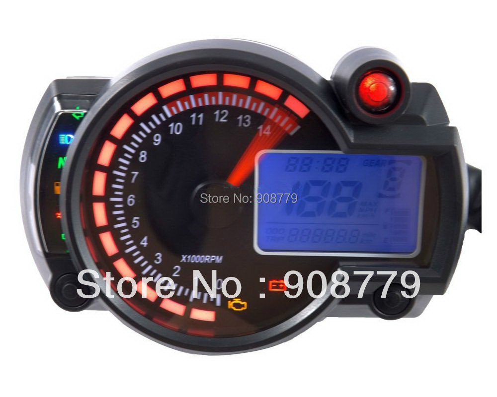 Adjustable Motorcycle digital speedometer LCD digital Odometer RED/BLUE Backlight MPH/KPH SH-025 Universal for all motorcycle(China (Mainland))