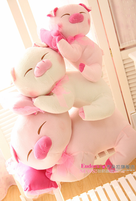 lovely plush pig toys with pillow small shy pig pillow toy stuffed doll birthday gift about 35cm pink(China (Mainland))