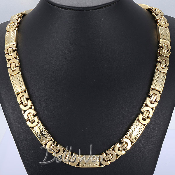2015 New 11mm Mens Chain Gold Silver Flat Byzantine Link Stainless Steel Necklace Biker Customize Jewelry Fashion Gift DKNL272(China (Mainland))
