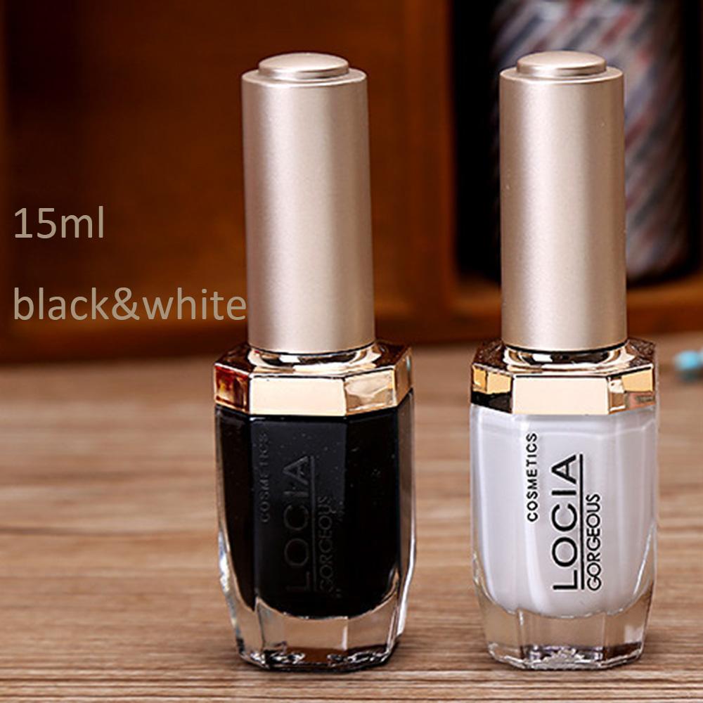 bk 15ml nail art black & white base nail polish for nail gel decoration(China (Mainland))