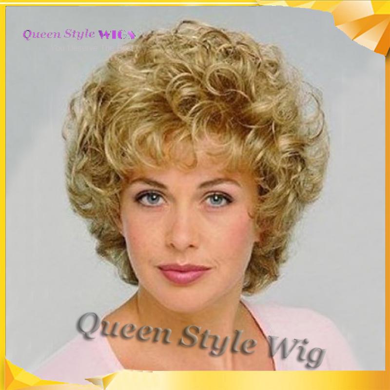 vente chaude aim coiffure court fluffy cheveux boucl s golden blonde couleur perruque pas cher. Black Bedroom Furniture Sets. Home Design Ideas