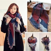 hot cashmere wool scarf women tassel shawl pashmina bufandas thick plaid winter scarves foulard tartan wrap stole W1