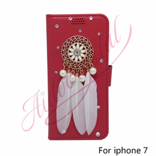 Buy Aidocrystal Phone Cases 7G red Leather Wallet Case Shiny Rhinestone feather Flip Kickstand Dream Catcher Cover iphone 7 for $16.99 in AliExpress store