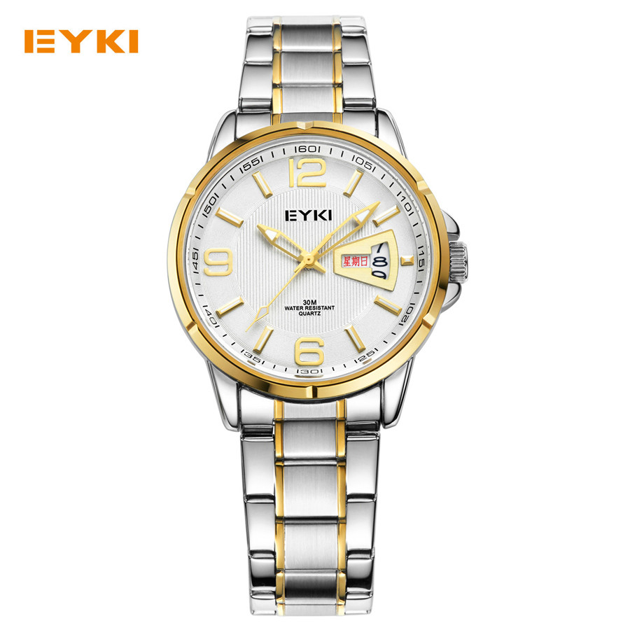 2016 Top Brand EYKI Men's Dress Watch Full Steel Luminous Hands Date Week Hour Quartz Clock Male Fashion Casual Business Watches