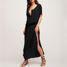 Buy Plus Size Women Summer Dress 2017 Sexy Side Split O neck Short Sleeve Beach Maxi Party Dresses Ladies Casual Solid Long Vestidos for $10.99 in AliExpress store