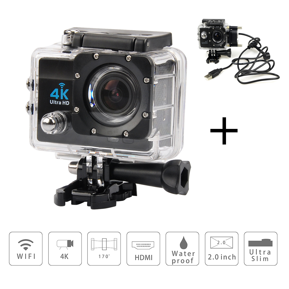 New Ultra HD 4K Action Camera 2.7K@30fps 1080P Fotocamera WiFi 170 Degree Wide-angle Sport Camera + Motorcycle Waterproof case(China (Mainland))