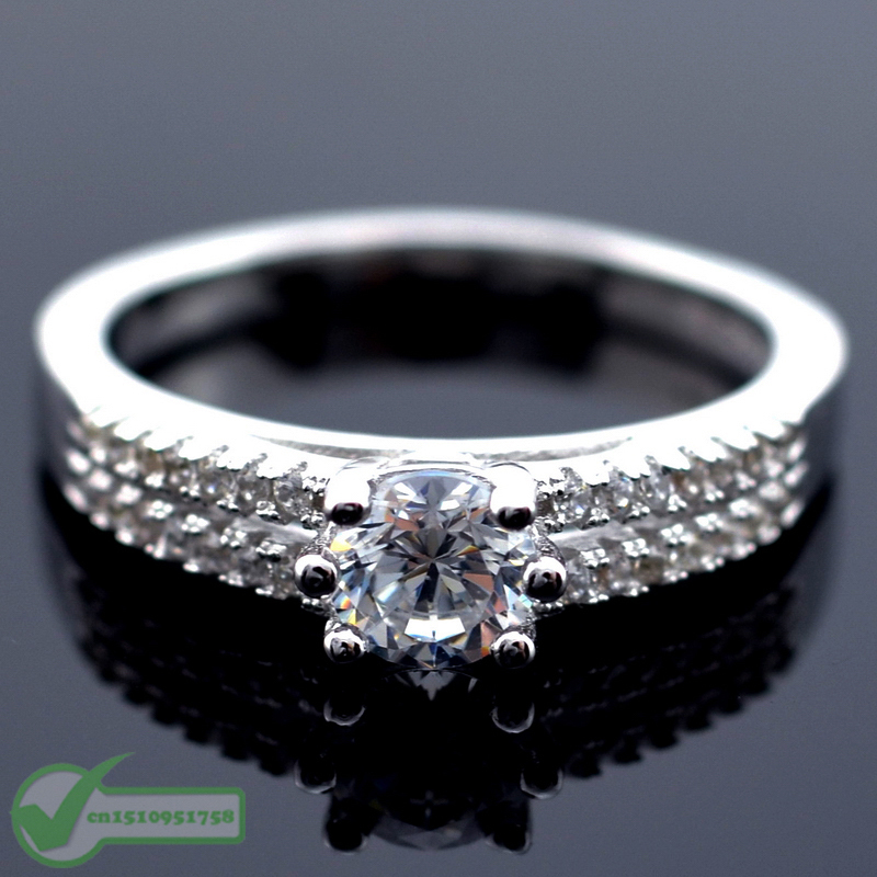 0.5 Carat Real Genuine 925 Sterling Silver Luxury Simulated Diamond Rings for Women Wedding Engagement Jewelry CZ Micro Inlays