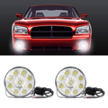 2pcs 9 LED Daytime Running Head Light Round Lamp Car 12V Waterproof Bright White MA137