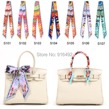 New Wholesale Twilly Feather Pattern Twilly Bag Scarf Printed Trendy Striped Headband Bags Scarf Decoration Free Shipping(China (Mainland))