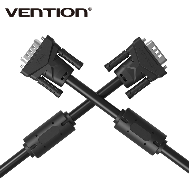 Vention Brand 1m 1.5m 2m 3m 5m 8m 10m 15m VGA to VGA Round Cable Male to Male Black Braided Shielding for PC HDTV VGA Cabo Video(China (Mainland))