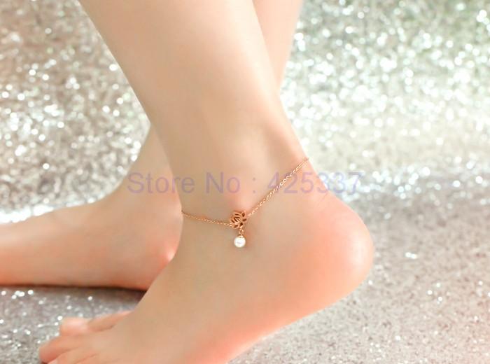 Высокое качество 18KGP роуз позолоченные титана стали лотоса жемчуг ножной браслет мода марка украшения для женщин бесплатная доставка ( GA047 )