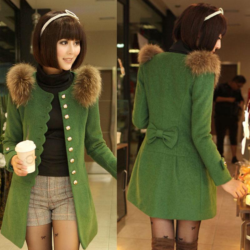 2013 autumn winter women medium-long woolen outerwear slim fur collar wool coat overcoat - Fashion Show World store