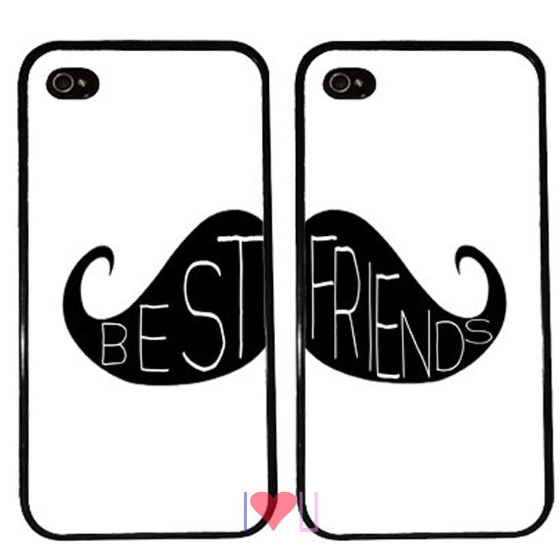 BFF MOUSTACHE Couple Protective back skins cellphone case cover fits iphone 4/4s 5/5s SE 6/6s plus ipod touch4/5/6  -  I LOVE U store
