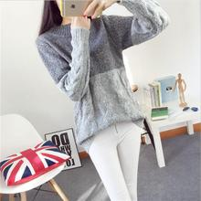 2016 Winter stitching-color hedging sweater female Korean twist loose knit winter warm coat thick winter sweater coat  w795(China (Mainland))