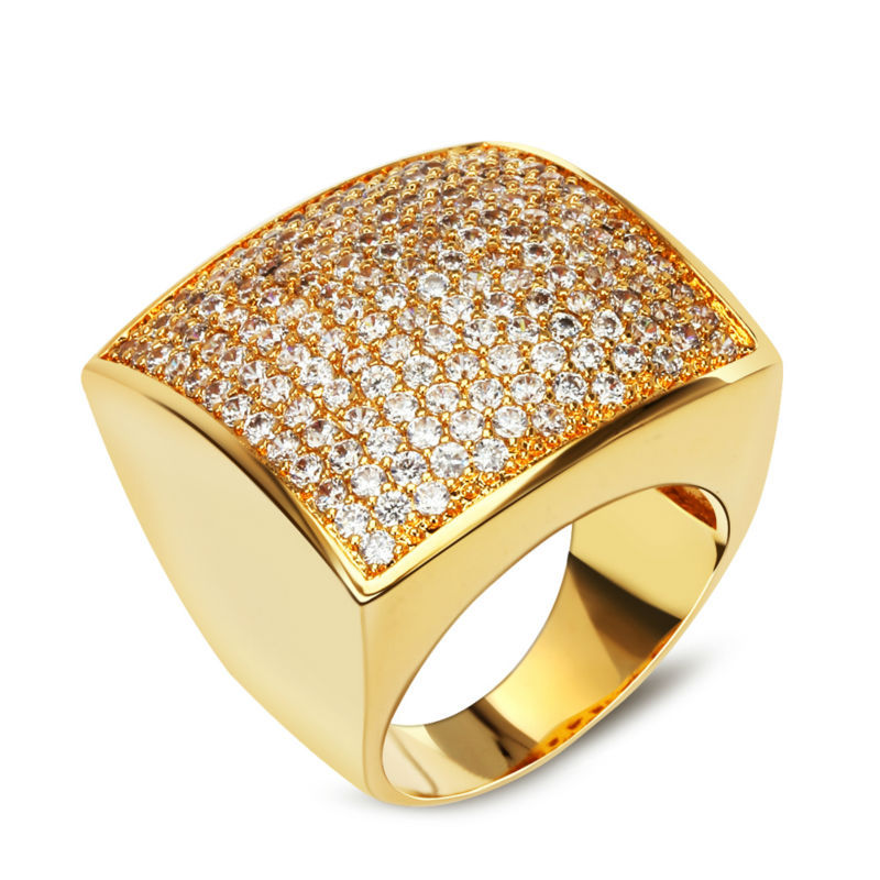 Romantic Fashion Women Rings Lovely Wedding Jewelry Square Face Gold Plated Micro Pave Setting Full Cubic Zriconia Size 6,7,8,9 - TT Mart store