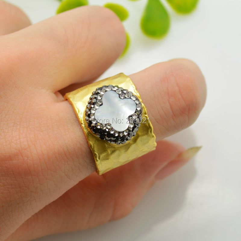 Charms ~ 5pcs Gold Plated Rhinestone Crystal Rings , Druzy Shell Ring Jewelry Finding