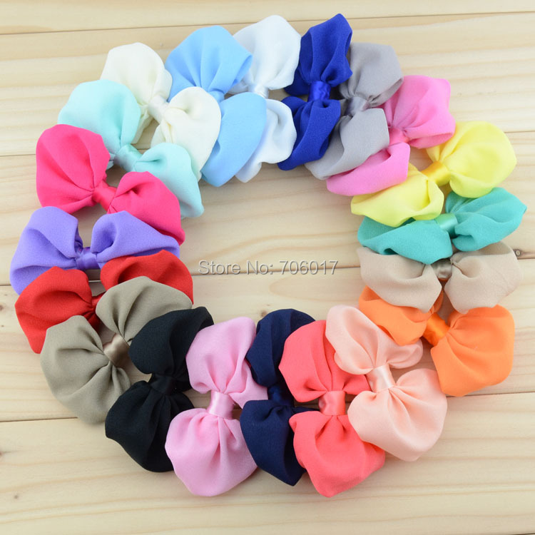 "4"" chiffon fabric bows for young girls,baby bows accessories, kids hair bows Hair accessories, 20pcs/lot, free shipping(China (Mainland))"