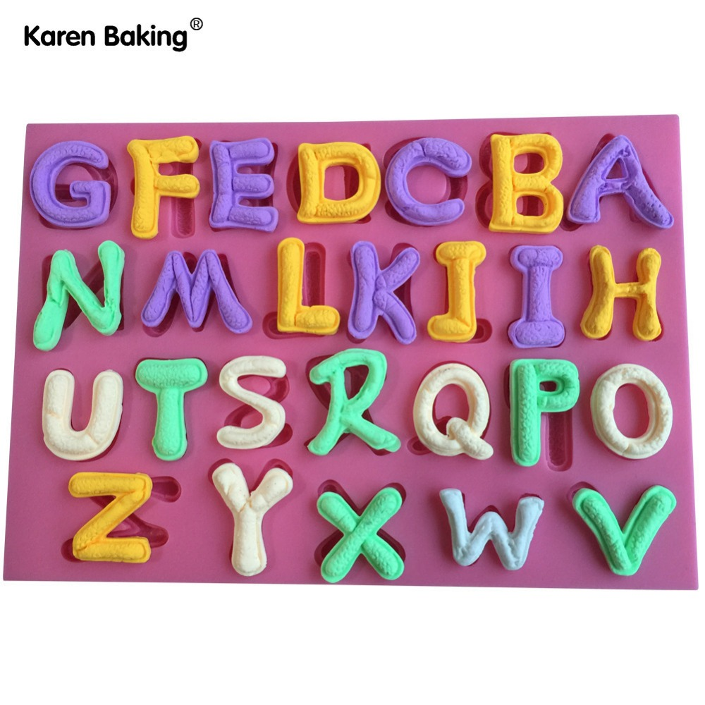 26 English Letter Design Christmas Fondant Silicone Cake Mold For Cupcake Cake Decorating Tools Candy C634(China (Mainland))