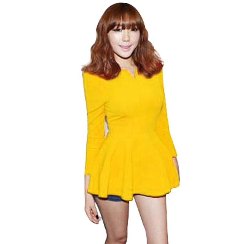 2015 New Fashon America Style Women Long Sleeve Ruffles Peplum Tops Blouse Fashion Office Lady Back Zipper Quality 541(China (Mainland))