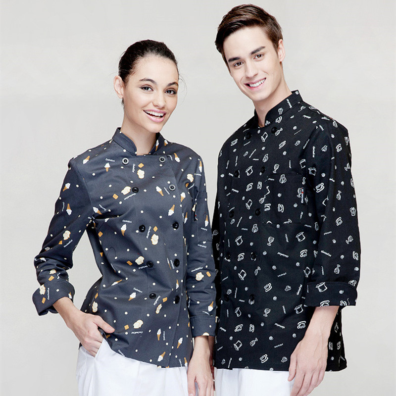 (5 get 10% off, 10 get apron for free)Man/woman long sleeve chef wear uniform waiter shirt uniform work wear work clothes(China (Mainland))