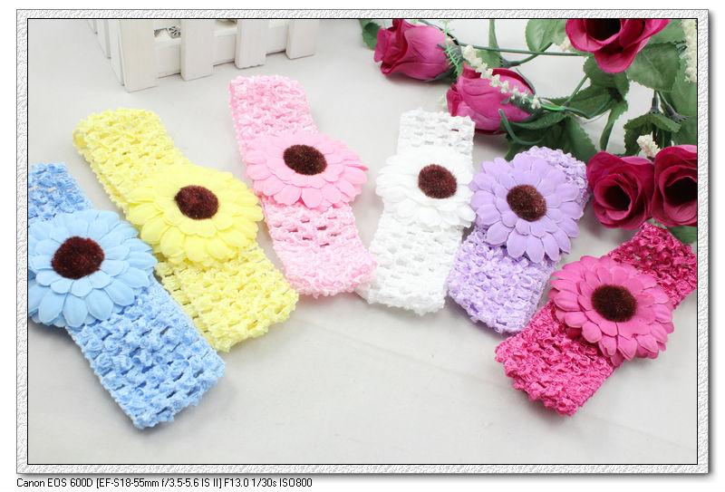 24 pcs/lot multicolor cute sunflower & gerbera daisy baby kids infant Crochet Headbands & elastic hairbands H5012 Fashion(China (Mainland))