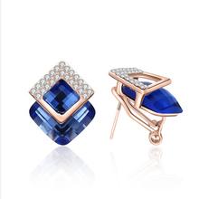 Buy Super Fashion Statement 4-color Korean multi-level irregular geometric crystal buckle stud earrings women/girl gift Jewelry for $1.29 in AliExpress store