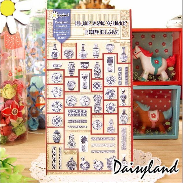 20 Sets / lot New Vintage Blue and white Porcelain paper sticker/ DIY Multifunction note label/sign Post/Wholesale No.0179(China (Mainland))
