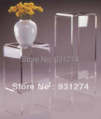 Clear Acrylic Home Console Table With Storage Shelf Modern Wedding Flower Pedestal Stand Home