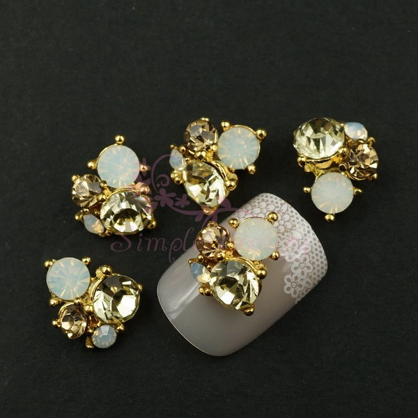 2 Mix Color Rhinestones 9X11MM Unique Irregular 3D Alloy Golden Plated Charms Nail Art Craft Jewelry Making Accessories - Simple Beauty store