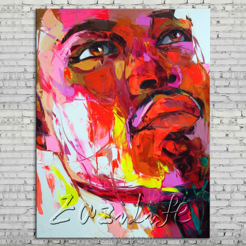 Buy Palette knife portrait Face Oil painting Character figure canvas Hand painted Francoise Nielly wall Art picture 713 cheap