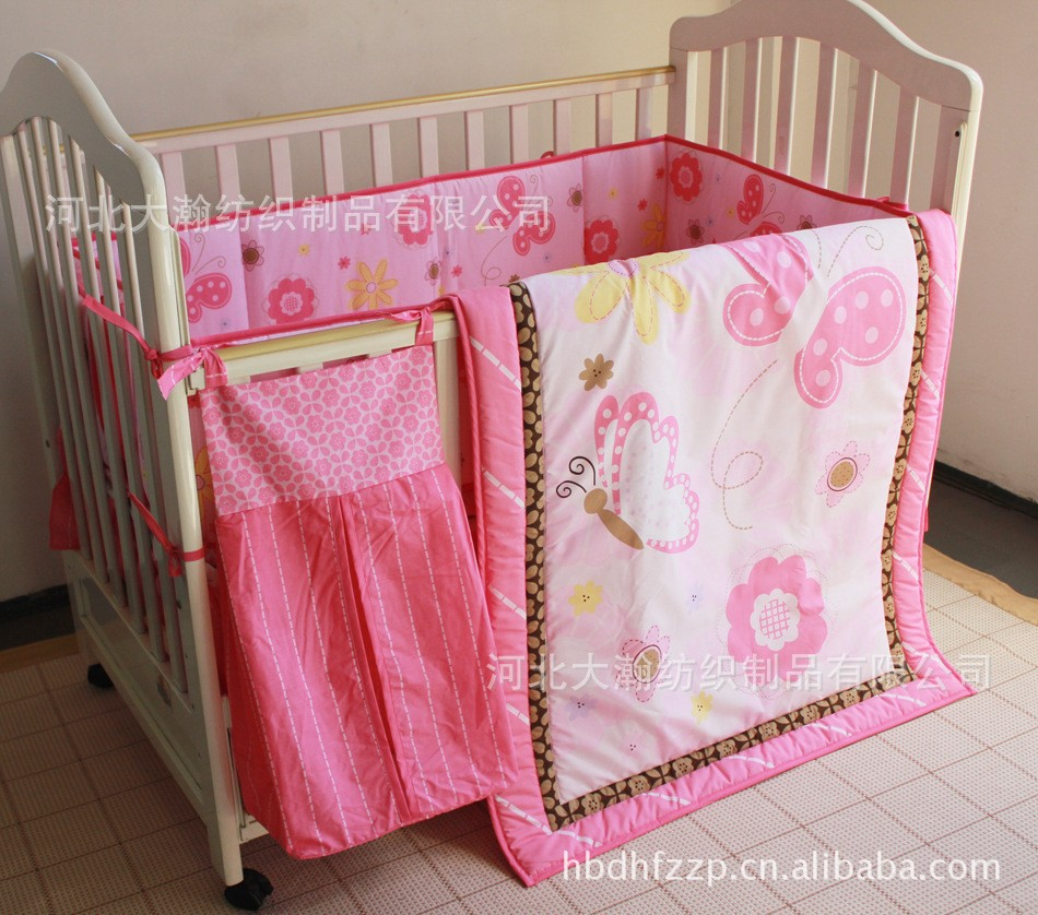 Promotion! 5PCS Crib Bedding Sets Embroidered 3d Quilt Bumpers Skirt Bed linen (bumper+duvet+bed cover+bed skirt+diaper bag)<br><br>Aliexpress
