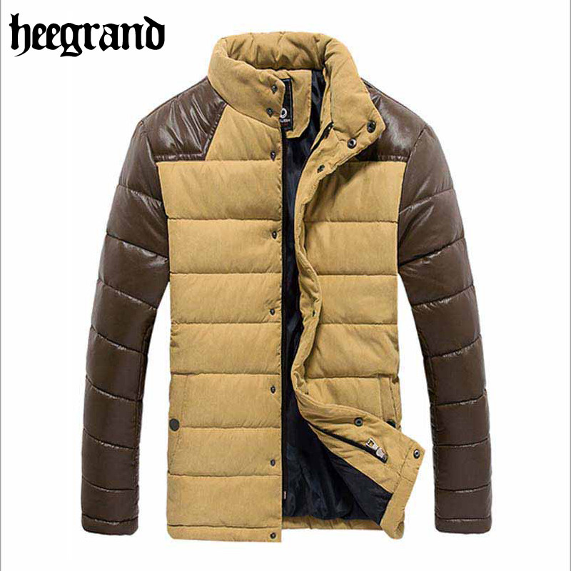 2015 Fashion Winter Jacket Men Brand Patchwork Warm Outdoor Overcoat Winter Cotton Padded Leather Jacket Good Quality MWM1095Одежда и ак�е��уары<br><br><br>Aliexpress