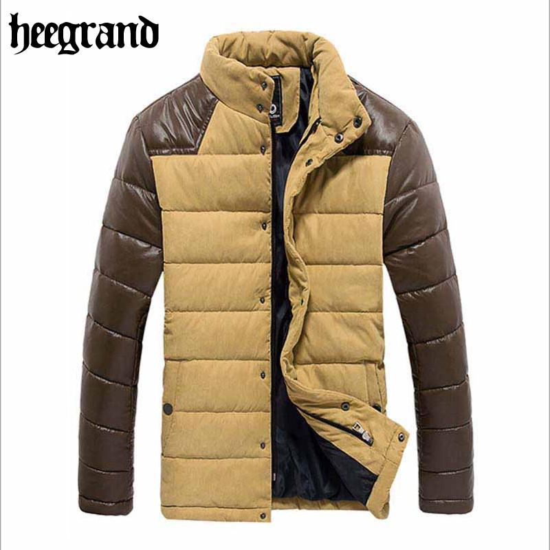 Фотография 2016 Fashion Winter Jacket Men Brand Patchwork Warm Outdoor Overcoat Winter Cotton Padded Leather Jacket Good Quality MWM1095