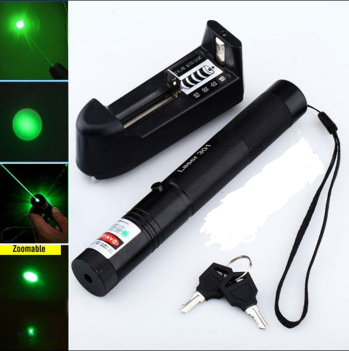 high power green laser pointers 301 532nm GREEN LASER 5000MW adjustable focus burn match + key + changer + box + FREE SHIPPING(China (Mainland))