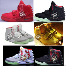 Red October 2015 sales glowing star yeezy Kanye West men's sports shoes black red sneaker sneakers luminous in the dark(China (Mainland))