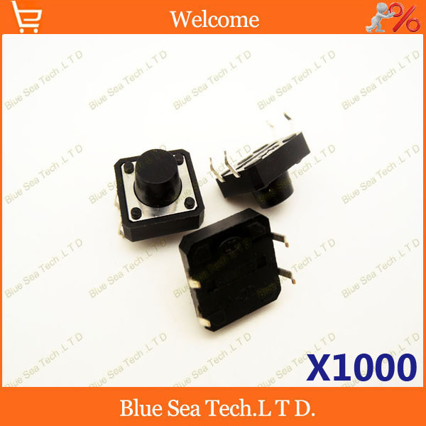 1000 pcs 12*12*7.5mm Round Tactile Push Button Switch/Micro switch,12X12X7.5MM DIP button switch black<br><br>Aliexpress