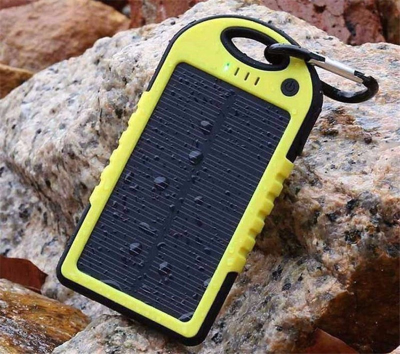 Universal solar power bank 5000mah Portable Waterproof Solar charger Dual-USB Solar battery Charger for iphone samsung all phone
