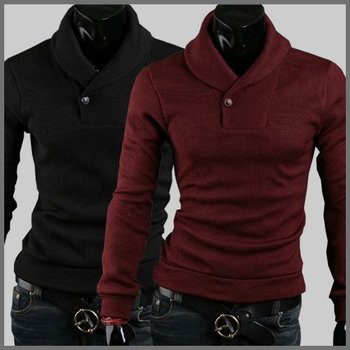 Wholesale and retail New Korean color Sweater Shirt Mens slim outside polo cardigan sweater for men fashion cashmere