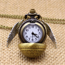 Free Drop Shipping Elegant Harry Potter Golden Snitch Quartz Fob Pocket Watch With Sweater Necklace Chain(China (Mainland))