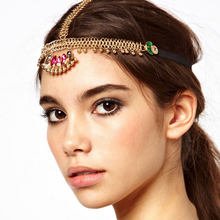 Grecian Crown Infinity Chain Alloy Fan Shape Color Crystal Pendant Dress Piece Accessory Indian Head Hair Chain Jewelry A00025