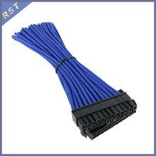 24 контакт. синий длинными рукавами ATX / EPS от мужчины к женщине Extention кабель — 30 см