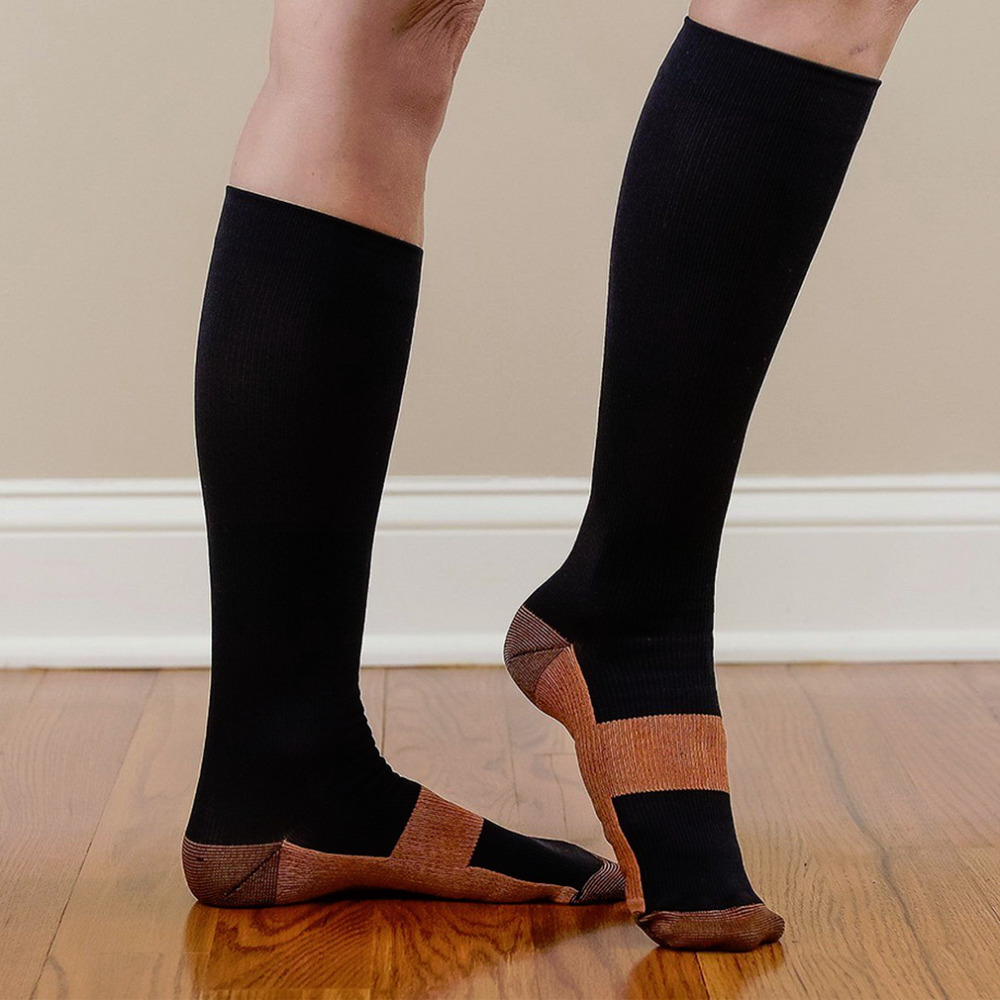 1pair Hot Miracle Copper Anti Fatigue Compression Socks Tired Achy Unisex Women Men Anti Fatigue Magic