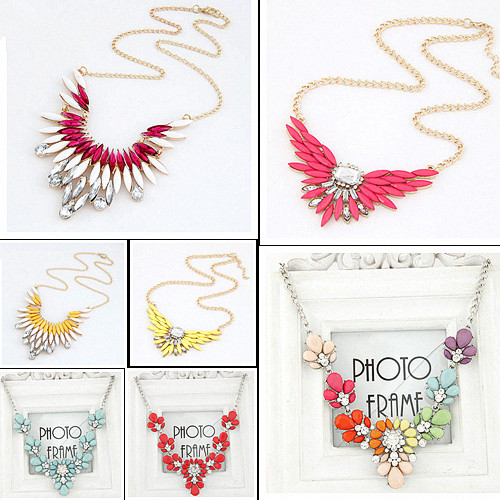 Fashion Collares Necklaces & Pendants Imitated Gemstone Jewelry Wing Crystal Gold Choker Collier Femme for Women 2015 Bijoux(China (Mainland))