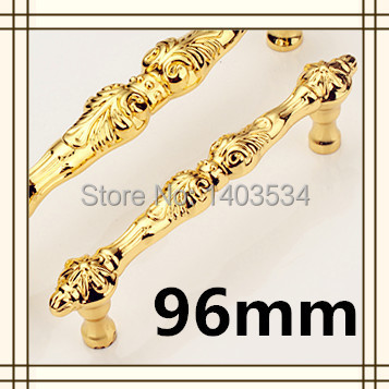 US Shipping 2pcs 96mm golden color zinc alloy antique drawer pulls furniture handles(China (Mainland))
